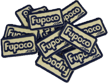 fwa 2014 giveaway pile of fupoco logo embroidery patch magnets